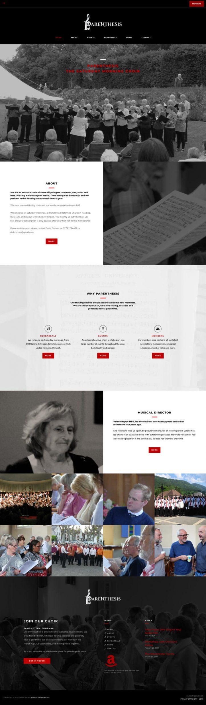 website design choir